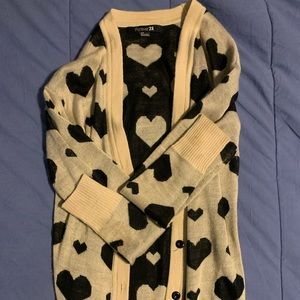 Forever 21 Cream and Black Heart Sweater size S